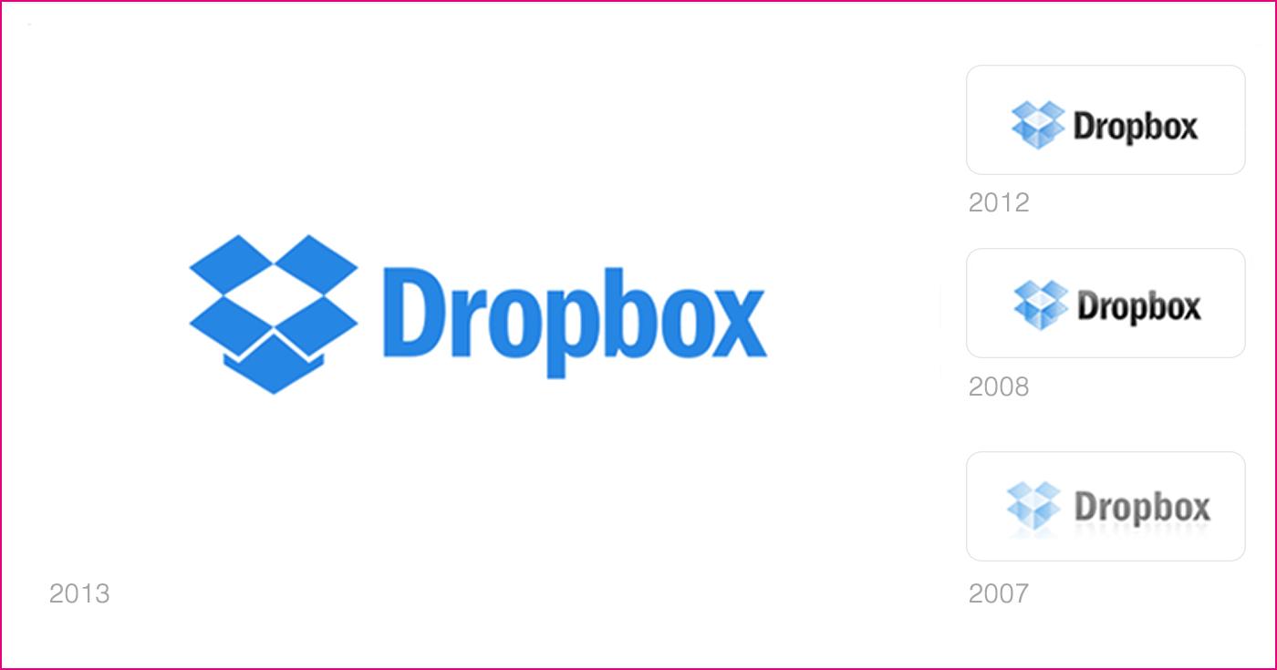 rebranding logo dropbox 2007 2017