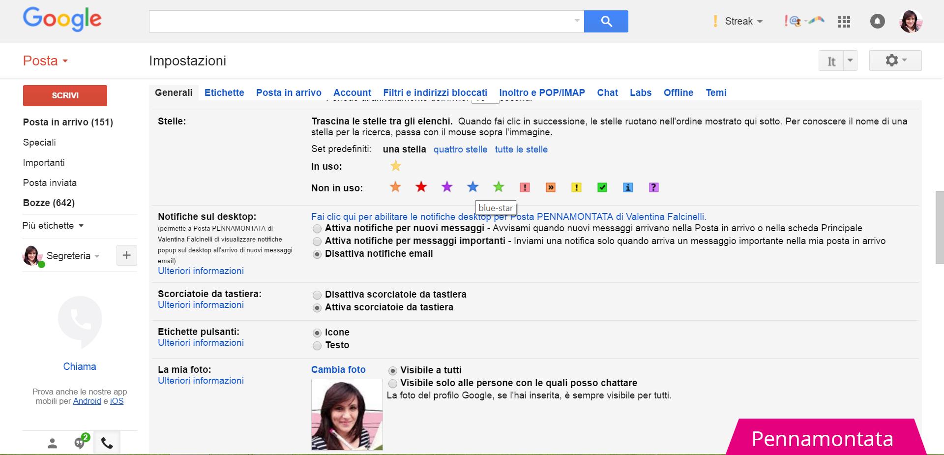 Stelle per messaggi speciali Gmail