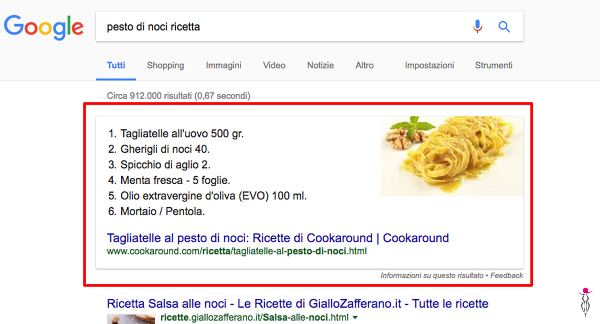 Google – snippet in primo piano