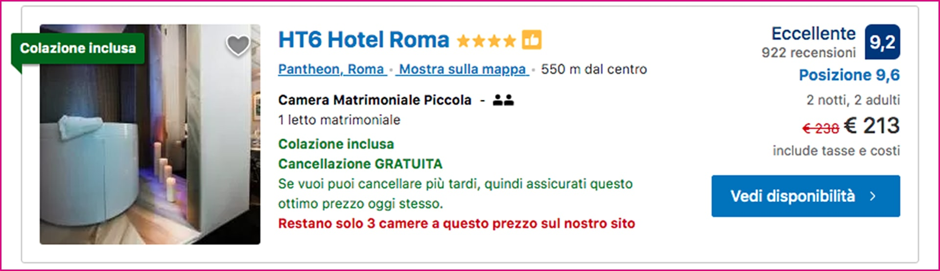 Esempio di UX writing Booking.com