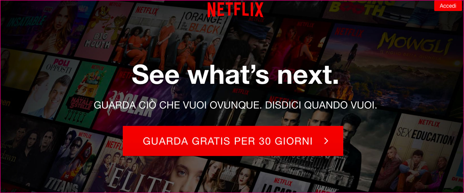 Esempio CTA Netflix