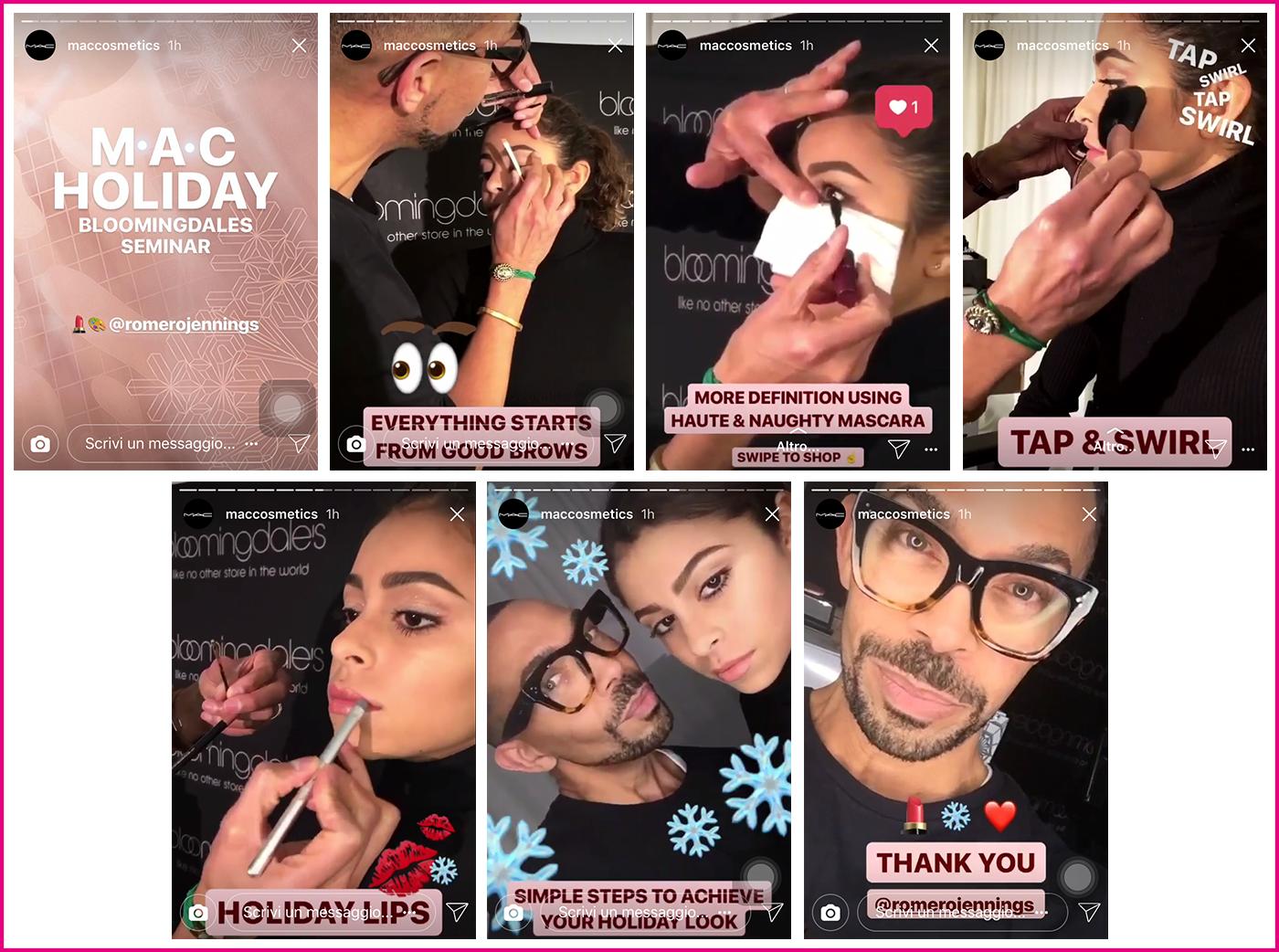 Instagram storie Mac Cosmetics
