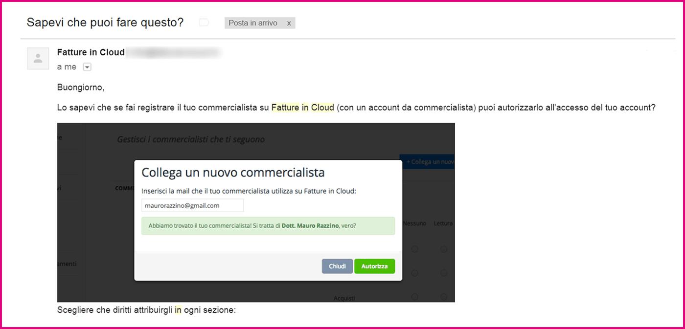 Email Fatture in Cloud