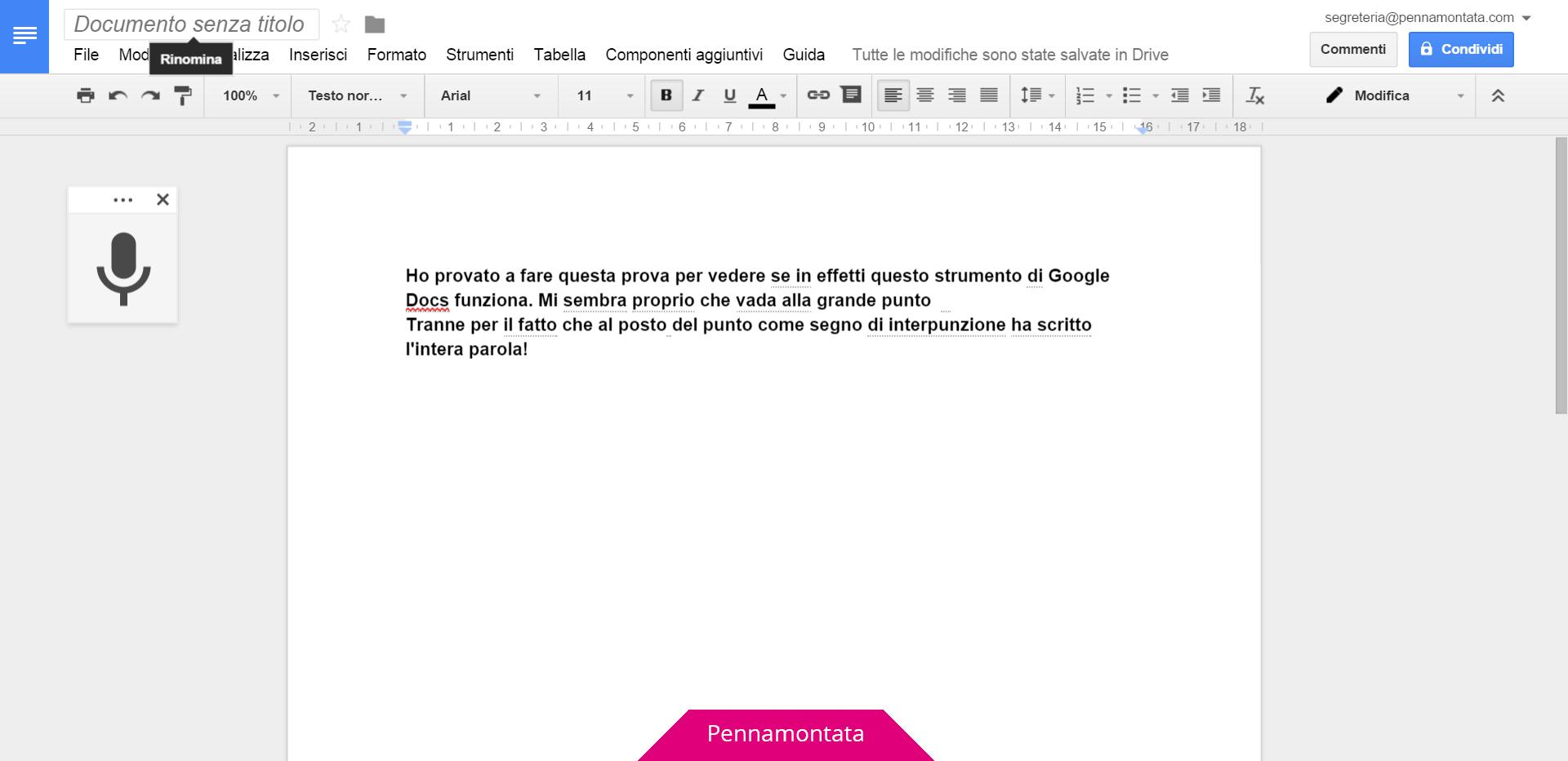Google Docs come dettare il testo