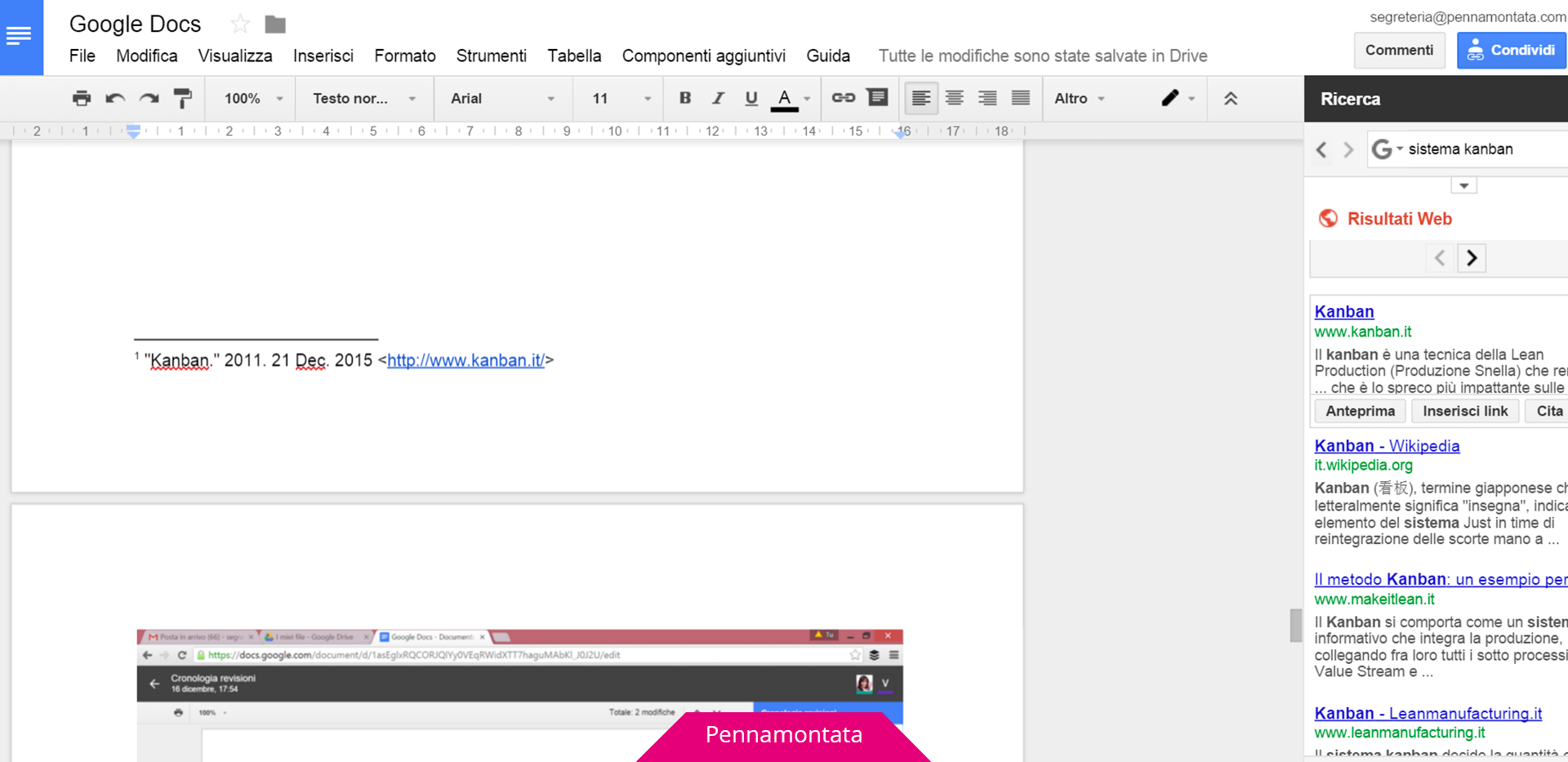 Google Doc come inserire note