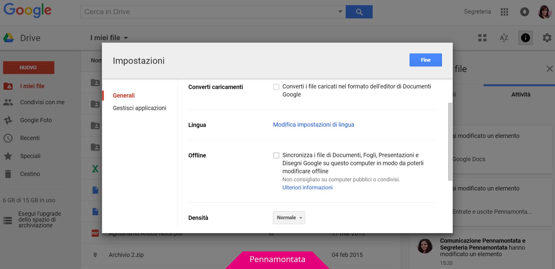 Google Docs lavorare modalità offline