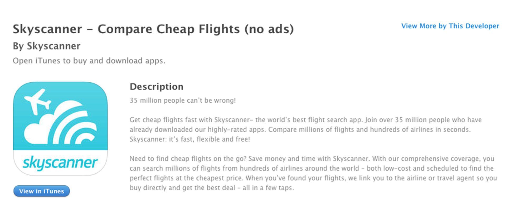 Copywriting app Skyscanner