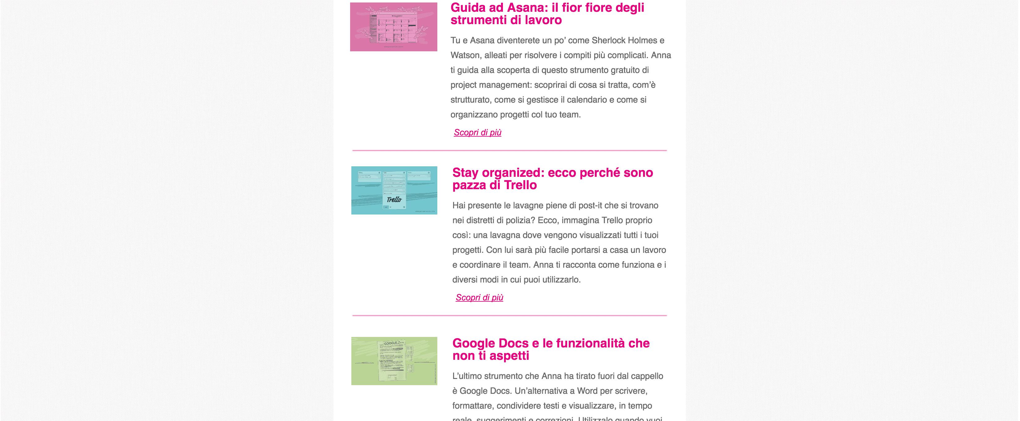 struttura box newsletter