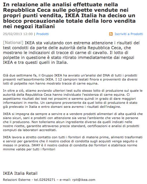 crisis management-comunicato ikea italia polpette