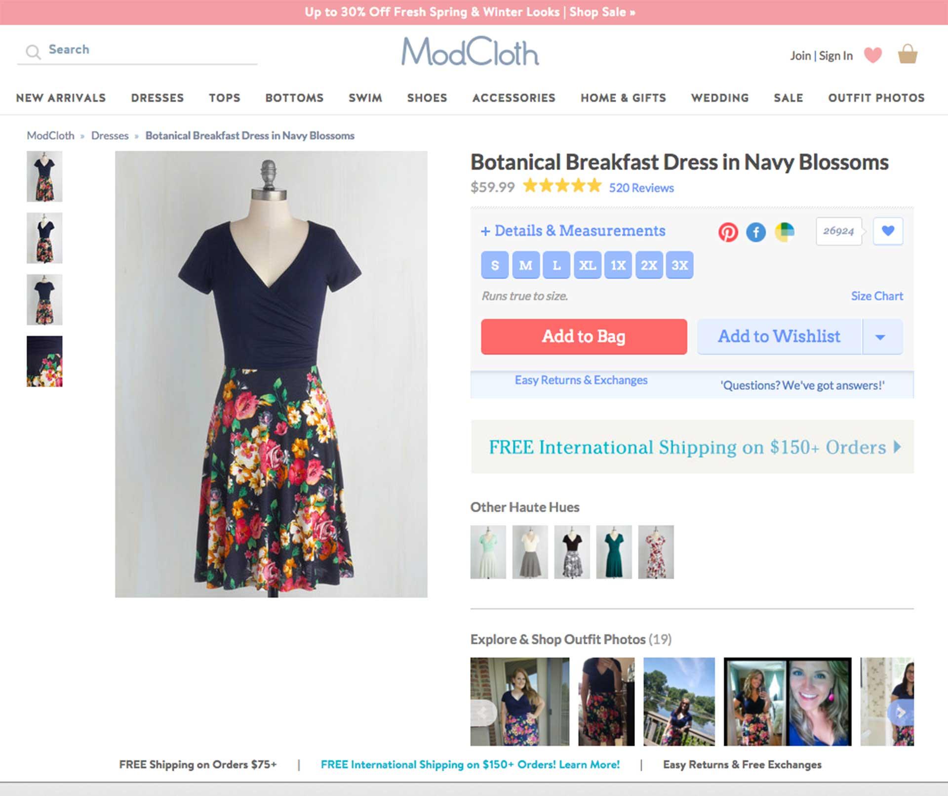 esempio scheda prodotto e-commerce moda modcloth