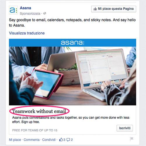 esempio facebook ads asana