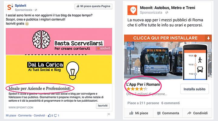 facebook ads copy e pubblico