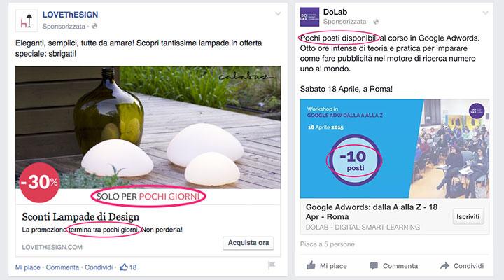 facebook ads copywriting senso di urgenza
