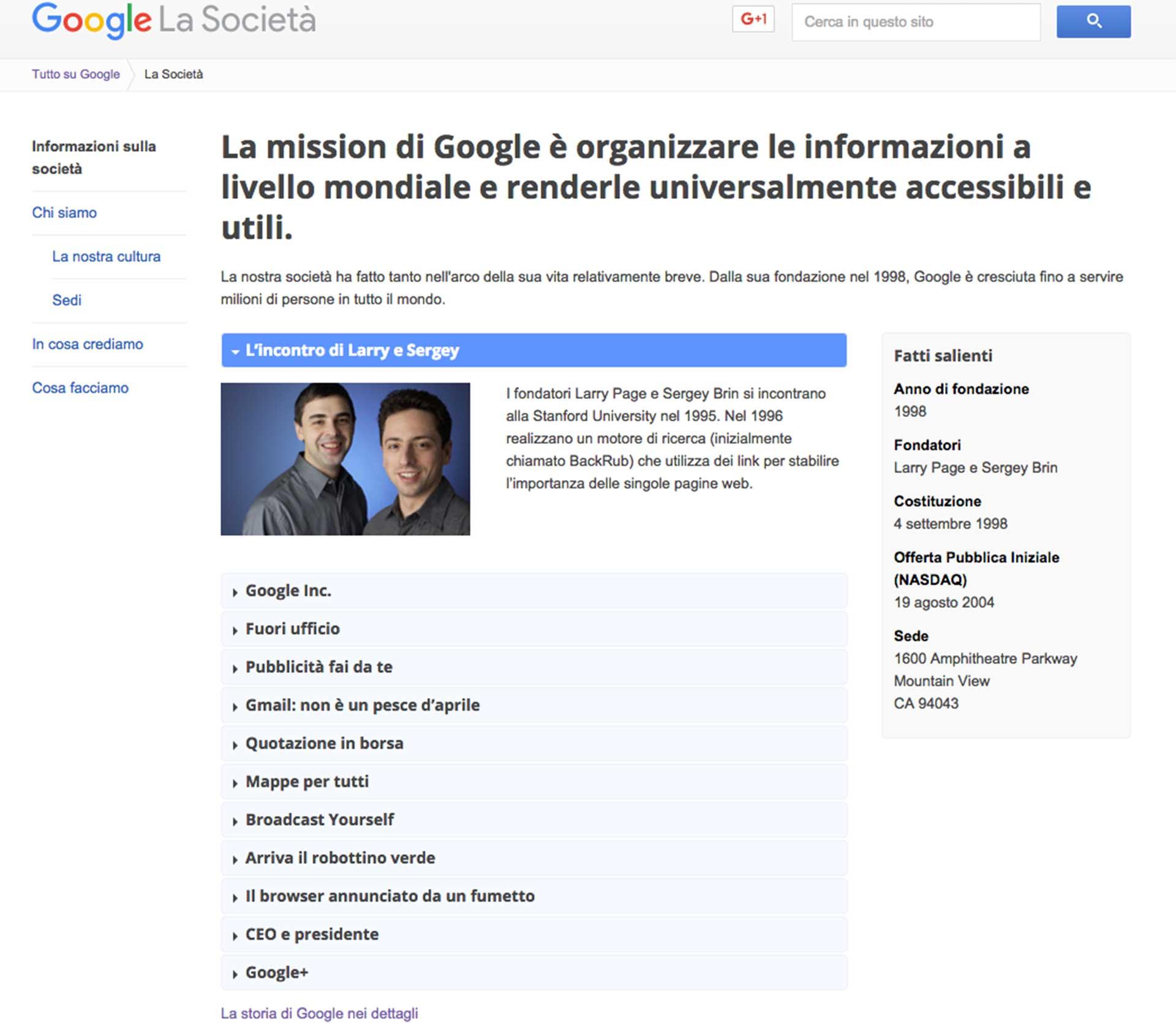esempio sezione About Google