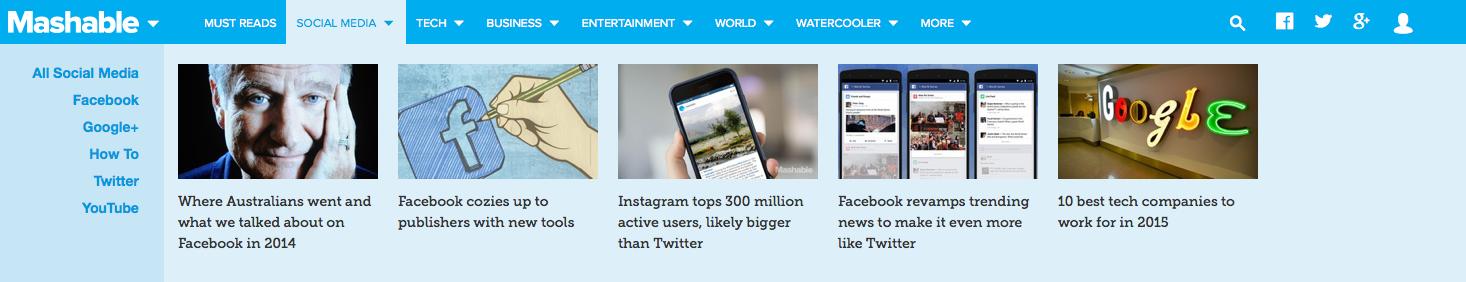Esempio headline con numeri su Mashable