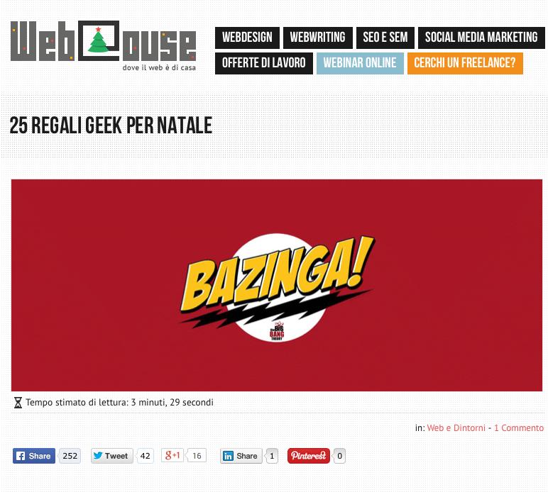 Esempio headline con numeri su WebHouse