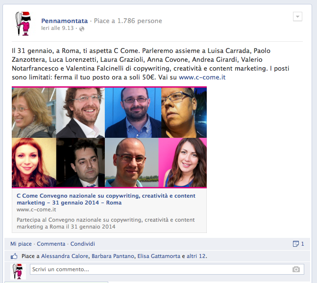 nuovo post con link su facebook